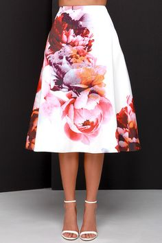 Keepsake Night After Night Ivory Floral Print Midi Skirt #floral #skirt #clothing