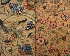 17C Embroidery - flower motif Victoria and Albert Museum - British Galleries