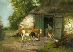 Johan Frederik Cornelis Scherrewitz (1868-1951) Farmer and Cattle by a Stable