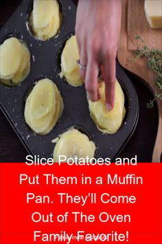 Slice Potatoes and Put Them in a Muffin Pan. They'll Come Out of The Oven Family Favorite! - Family meal recipes Slice Potatoes and Put Them in a Muffin Pan. They'll Come Out of The Oven Family Favorite! Potato Recipes, Vegetable Recipes, Vegetarian Recipes, Meal Recipes, Cooking Recipes, Cooking Vegetables, Cooking Pasta, Fast Recipes, Noodle Recipes