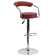 Contemporary Adjustable Height Barstool with Arms and Chrome Base - Burgundy Vinyl