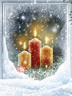 Merry Christmas with love from Me to You Merry Christmas Gif, Christmas Scenes, Christmas Candles, Christmas Pictures, Christmas Greetings, Winter Christmas, Christmas Time, Vintage Christmas, Christmas Decorations
