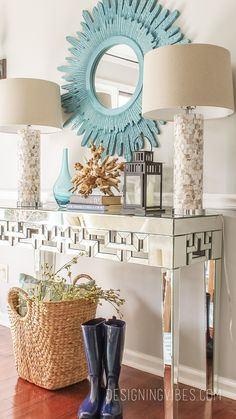 modern spring decor. spring vignette. mirrored console table.
