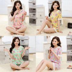 Mới Ngủ Phụ Nữ Mùa Hè Ren Hoa Đồ Ngủ Set Ngắn tay áo Dễ Thương Phòng Chờ cho Phụ Nữ
