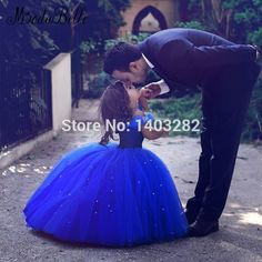 Royal Blue Cinderella Dresses Girls Ball Gowns Long Beaded Mother And Daughter Flower Girl Dresses Designers Pageant Dresses