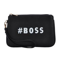 Mechaly Women's Slogan Boss Black Vegan Leather Wallet