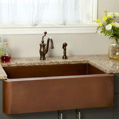 "Sale - 36"" Amelie Smooth Copper Farmhouse Sink"