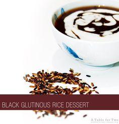 Black Glutinous Rice in Coconut Milk Rice Desserts, Asian Desserts, Rice Porridge, Palm Sugar, Coconut Cream, Coconut Milk, Malaysian Food, Glutinous Rice, A Table