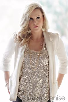 Love the sparkly sequin top w/ a white jacket