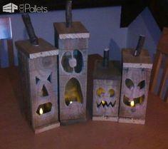 Handmade Halloween Pallet Jacko Lantern's Pallet Lamps, Pallet Lights & Pallet Lighting
