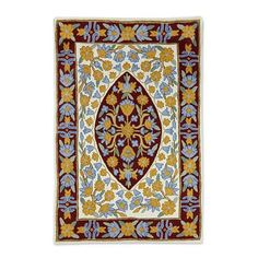 Wool chain stitch rug, 'Sunny Flowers' (2x3) - Modern Floral Design India Chain…