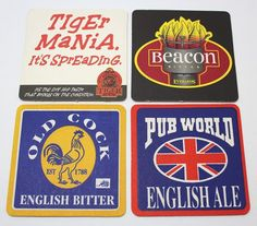 Coasters Lot Of 4 Beer Assorted Brewmania Square Old Cock,Tiger Mania Collectabl Ale, Coasters, Store, Ebay, Drink Coasters, Storage, Ales, Shop, Coaster Set