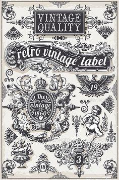 Detailed illustration of a Vintage Hand Drawn Graphic Banners and Labels Illustration , Lettering Tutorial, Lettering Design, Logo Design, Design Web, Type Design, Design Elements, Hand Lettering Alphabet, Typography Letters, Calligraphy Letters