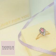 Χρυσό δαχτυλίδι Κ.14 με ροζ πέτρα και λευκα ζιργκόν. Τιμή 75€ 35c19067cb0