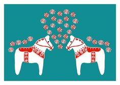 Lovely Dala Horse in LOVE - Teal Red - Scandinavian Art Print Pop Art Wedding gift Kids room Children Decor Nursery Art Home garden Decor. $18.00, via Etsy.