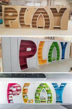 PLAY Bookcase - Creative Storage Space - Designed by Tanglewood Kindergarten Interior, Kindergarten Design, Daycare Design, Kids Room Design, Kids Cafe, Creative Storage, Kid Spaces, Kids Furniture, School Furniture