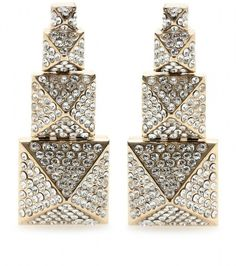 VALENTINO Crystal Embellished Drop Earrings - Lyst