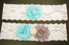 Aqua and Gray Garter Set by BloomsandBlessings on Etsy