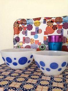 VINTAGE Agee Pyrex Mixing Bowls - Pair - Blue Polka Dot