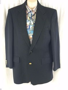 Heisman Trophy Collection Sport Coat Black Wool Vented 2 Gold Buttons Lined #HeismanTrophyCollection #TwoButton