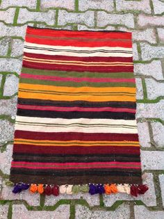 Colorful Turkish Kilim Rug stripped Antique by KilimRugStore