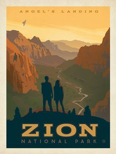 Zion National Park: Angel's Landing - Commemorate your favorite outdoor experiences by decorating with our National Park prints. This design celebrates our American heritage of wilderness and wonder with a stunning 1,500 foot high view from Angel's Landing in Zion National Park.