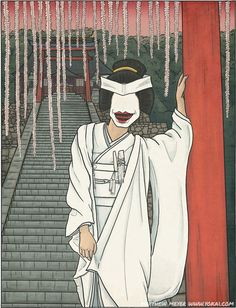 Ohaguro-bettari- Japanese myth: a female creature that appears like a beautiful woman from behind wearing a wedding dress, but when she turns her head she reveals her face that consists only of a mouth with blackened teeth. She was harmless but terrifying.