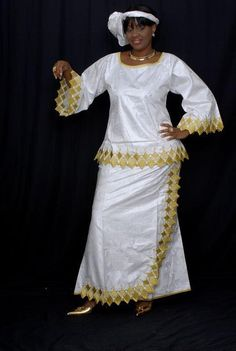 White and gold embroidered African tunic dress and wrap skirt