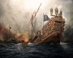 Christian galley at the Battle of Lepanto