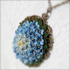 Blue crochet set unusual set crochet flowers tiny от LozArts
