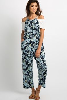aa8b10eb9a76 Navy Blue Tropical Jumpsuit