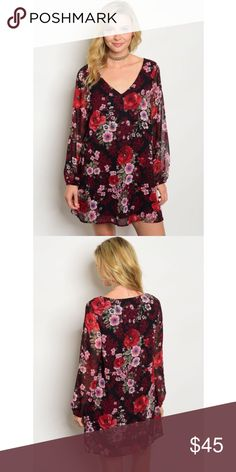 """*SALE* New red floral dress . Brand new from my boutique  . Model is wearing the exact product  . Fabric content: 100% polyester  . Made in the USA - brand is Peach Love which retails at Nordstrom               Any questions? Don't hesitate to ask  ✨ Use the """"buy now"""" or """"add to bundle"""" feature to purchase ✨ Nordstrom Dresses Mini"""