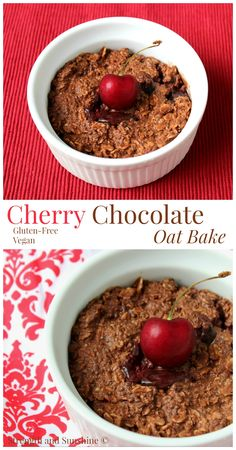 Cherry Chocolate Oat Bake   Strength and Sunshine @RebeccaGF666 Cherries. One of the sweetest, decadent fruits of the season. Dark red sweetness paired with the luxurious smooth taste of chocolate will have you dreaming about breakfast all night long! Gluten-free and vegan, this healthy Cherry Chocolate Oat Bake will beckon you to the breakfast table!