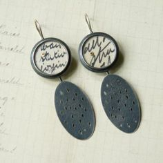 Paper dot + holey oval earrings