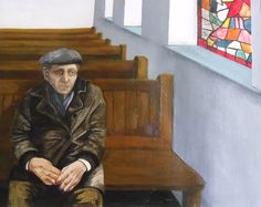 Man in church, In memorium  Oil on Paper 1981