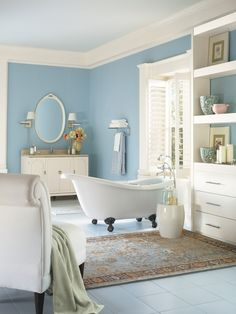 When choosing colors for your space, you may also want to consider contrasting the warm and cool hues on the color spectrum. 'Warm colors are yellows to red violets on the color wheel while the cooler colors are blues to greens,' says Misty Walker of Olympic Paint. Color tip: Olympic's Turquoise Mist is a relaxing cool shade, perfect for a bathroom.