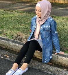 denim jacket hijab-Hijab style collection – Just Trendy Girls
