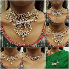 Multy Use Diamond Choker with Detachable Pendent Diamond Necklace Set, Diamond Pendant, Indian Diamond Necklace, Pendant Necklace, Circle Necklace, Layered Necklace, Gold Necklace, Necklace Designs, Jewellery Designs