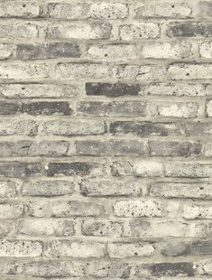 Sample Vintage Brick Wallpaper in Washed Grey from the Vintage Home 2 Collection by Wallquest