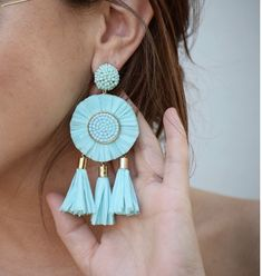 Large earrings are the newest fashion accessory trend in 2019 Sky blue flower earrings, large earrings, tassel earrings Diy Earrings, Teardrop Earrings, Flower Earrings, Tassel Earrings, Earrings Handmade, Wedding Earrings Drop, Bridesmaid Earrings, Bridal Earrings, Wedding Jewelry