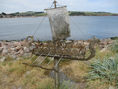 Another fish-crewed ship on Stonehaven's boardwalk.