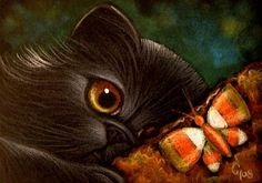 """""""Black Persian Cat & a Candy Cane Butterfly"""" by Cyra R. Chalk Pastel Art, Tape Art, Cute Animal Drawings, Art Portfolio, Cat Face, Whimsical Art, Candy Corn, Big Eyes, Cool Cats"""