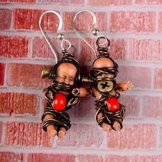 Baby Doll Earrings.. could easily make a necklace or charm bracelet too.