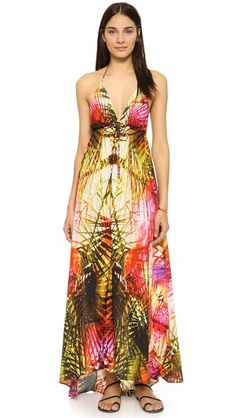 Gold Lotta Stensson  casual dress  for woman A multicolor abstract print lends a cheery look to this voluminous Lotta Stensson cover up. Beads accent the thin halter ties. Fabric: Crepe. 100% polyester. Hand wash. Imported, India. Measurements Length: 54in / 137cm, from shoulder Measurements from size S. Available sizes: L,M,S,XS #vestidoinformal #camisole #túnica #shift #pleat #pleated #drape #t-shape #daisy #foldedshoulder #summer #loosefit #tunictop #swing #day #offtheshoulder #smock…