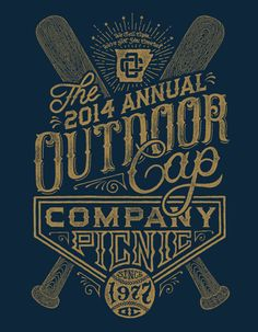 Zane Kaiser - The 2014 Annual Outdoor Cap Company Picnic #vintage #baseball #lettering #typography #type #design