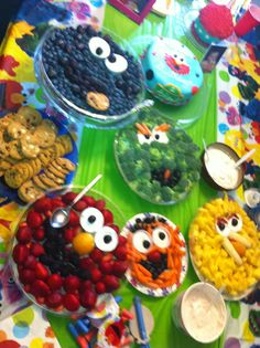 Sesame Street themed party with Sesame Street character for fruit and veggie trays.