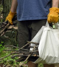 Firewood carrier- I'm going to try this by cutting the sides out of one of my reusable shopping bags. I don't sew. LOL