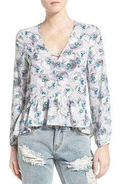Lovie Sadie Floral Print Peplum Blouse available at #Nordstrom