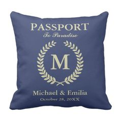 Humorous Passport Look Laurel Wreath Monogram Identify Throw Pillow. *** See more by going to the image link