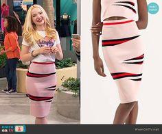 Liv's pink printed pencil skirt on Liv and Maddie. Outfit Details: https://wornontv.net/66429/ #LivandMaddie